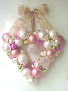 Heart Wreath  ~ pink ornaments & pearls by monkeygirl13