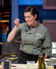 Chef Barrie familiarizes herself with our mystery ingredients.