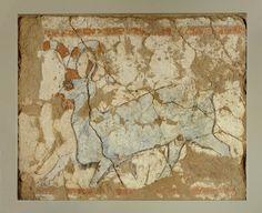 Peinture de la chèvre bleue, Levant, palais de Tell Ahmar, actuelle Syrie, Peinture à la détrempe sur carbonate de calcium: 50*60cm, Epoque néo assyrienne, vers -700 Musée du Louvre
