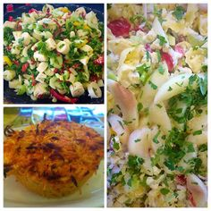Tortellini Salad with Pear & Gorgonzola, Hearts of Palm Salad, and Carrot & Parsnip Cakes Hearts Of Palm Salad, Tortellini Salad, Potato Salad, Pear, Carrots, Potatoes, Cakes, Ethnic Recipes, Kitchen