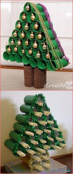 DIY TP Roll Christmas Ornament Display - Paper Roll Christmas Craft Ideas & Projects
