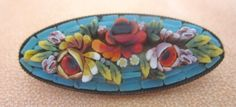 Vintage Signed Italy Micro Mosaic Robin Egg Blue Floral Oblong Oval Pin Brooch | eBay