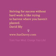 Strive for success by doing hard work! xo www.SueDavey.com Train Your Mind. Change Your Life!