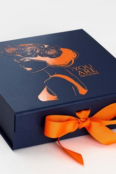 Navy Blue Luxury Gift Box from Foldabox Folding gift boxes available from stock.  Custom printed orange foil design and orange ribbon. Gift Box Packaging, Print Packaging, Jewelry Packaging, Custom Packaging Boxes, Custom Gift Boxes, Beauty Box, Luxury Gifts For Her, Luxury Gift Boxes, Custom Printed Boxes