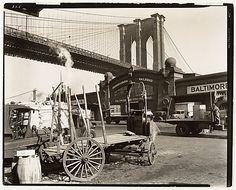 Berenice Abbott (American, 1898–1991). Brooklyn Bridge, With Pier 21, Pennsylvania R.R., 1937. The Metropolitan Museum of Art, New York. Gift of Joyce and Robert Menschel, 1991. © Berenice Abbott / Commerce Graphics Ltd. Inc. (1991.1045.2) #newyork #nyc