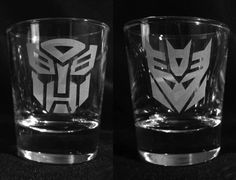 Transformers shot glasses - glass etched for Jamie for Christmas!
