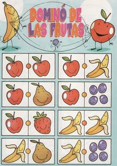 fruit domino 1 free printable Craft Activities For Kids, Infant Activities, Games For Kids, Diy For Kids, Halloween Fruit, Board Game Template, Fussy Eaters, Too Cool For School, Card Games