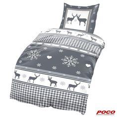Warum sollte das Bett nicht auch passend zu Weihnachten bezogen werden? Kissenbezug: ca. 80 x 80 cm, Bezug: 135 x 200 cm #weihnachten