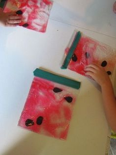 Watermelon Suncatchers/Sensory Bags - great for summer theme or the letter w!