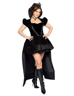 You're sure to have a happy ending dressed in our sexy new Wicked Queen Costume Set and you won't even need a poisoned apple.  This must have costume set features a cap sleeve gown with stand up quilted collar, ribbon trimmed bodice and flowing train with quilted hemline. Also included are satin ribbon choker necklace, and crown. Costume set includes:   � Gown.   � Necklace.   � Crown.   � Petticoat.   Durably made from high quality poly spandex knit.  *Dare to Compare! This deluxe costume…