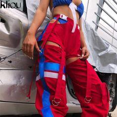 Houzhou Casual Women Harem Pants Hip Hop Bunch Legs High Waist Hollow Out Straight Trousers Patchwork Pants for Women Streetwear Trouser Pants, Trousers Women, Harem Pants, Pants For Women, Sweat Pants, Mode Streetwear, Streetwear Fashion, New Fashion, Fashion Outfits