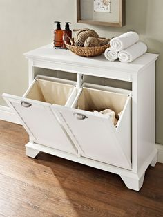 Crosley Furniture Lydia Linen Hamper in White (Wood) Laundry Sorter, Laundry Baskets, Laundry Storage, Tilt Out Laundry Hamper, Wooden Laundry Hamper, Laundry Decor, Small Laundry, Laundry Rooms, Laundry Hamper Cabinet