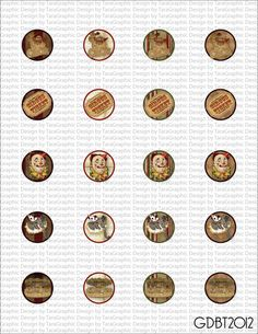 NEW Vintage Circus Digital Image Sheet for 1 Inch Bottlecaps Personal and Commercial Use graphicdesignbytara - Craft Cafe