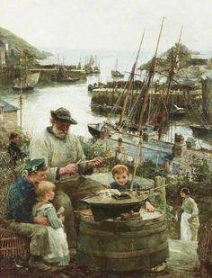 Shipmodel Maker with Harbour by John Robertson Reid (1851-1926) 1908 at Shipley Art Gallery Prince Consort Road, Gateshead, Tyne and Wear, England, NE8 4JB
