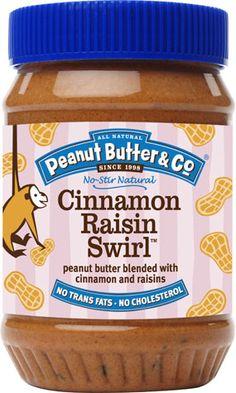 Peanut Butter & Co. Cinnamon Raisin Swirl Peanut Butter -- GMO free spread has half the sugar- love this brand, gotta try this flavor