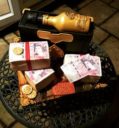 Ace of Spades Champagne Case Cake..... Oh and Red Velvet wads of £50s!!.....