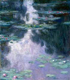 Water Lilies (Nympheas) by Claude Monet in oil on canvas, done in Now in the Israel Museum. Find a fine art print of this Claude Monet painting. Monet Paintings, Impressionist Paintings, Landscape Paintings, Claude Monet, Monet Giverny, Giverny France, Monet Poster, Kunsthistorisches Museum, Ouvrages D'art