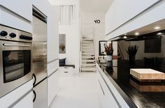 White Home Interior Design Expressing Simplicity and Minimalism: Black And White Kitchen Design With Modern Style White Kitchen Furniture Fi. Interior Design Inspiration, Home Interior Design, Kitchen Inspiration, Design Ideas, White Kitchen Furniture, White Apartment, Stockholm Apartment, Apartment Kitchen, Black Backsplash