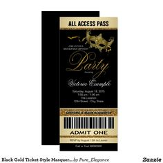 Black Gold Ticket Style Masquerade Party Card