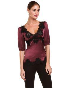 Dolce & Gabbana Wine Silk Lace Top