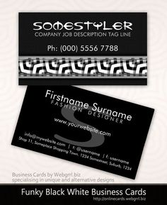 Modern Funky Black White on Black Business Cards #customizable #template