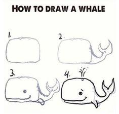 Уроки рисования карандашом - техника пошагового рисования , рисунок кита