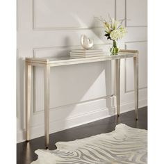 John-Richard Collection YANI ART DECO CONSOLE TABLE (6,970 SAR) ❤ liked on Polyvore featuring home, furniture, tables, accent tables, silver, grey console table, john richard furniture, art deco table, gray furniture and handcrafted tables
