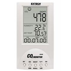http://termometer.dk/gasanalysator-testere-r12832/desktop-indoor-air-quality-co2-monitor-53-CO220-r36395  Desktop Indoor Air Quality CO2 Monitor  Foranstaltninger Kuldioxid (CO 2), lufttemperatur og luftfugtighed, plus beregner Dugpunkt og vådtemperatur  Vedligeholdelsesfri NDIR (non-dispersiv infrarød) CO 2-sensor  Kuldioxid læsning vises i ppm med seks ansigts ikoner, som indikerer indendørs kvalitetsniveauer  Beregner Dugpunkt og vådtemperatur værdier  Beregner statistiske vægtede...