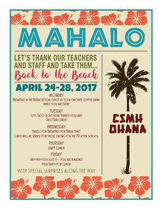 The parents at our school went all out during this year's Teacher Appreciation Week Aloha Style. Mahalo was the theme of the week! Appreciation Message, Employee Appreciation Gifts, Volunteer Appreciation, Teacher Appreciation Week Theme, Volunteer Gifts, Luau Theme, Thank You Gifts, Teacher Gifts, Teacher Tote