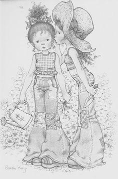 Holly Hobbie and Sarah Kay Sarah Key, Holly Hobbie, Colouring Pages, Adult Coloring Pages, Coloring Books, Illustrations Vintage, Digi Stamps, Australian Artists, Sweet Memories