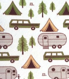 Anti-Pill Fleece Fabric-Camp Site--So Adorable for the trailer!