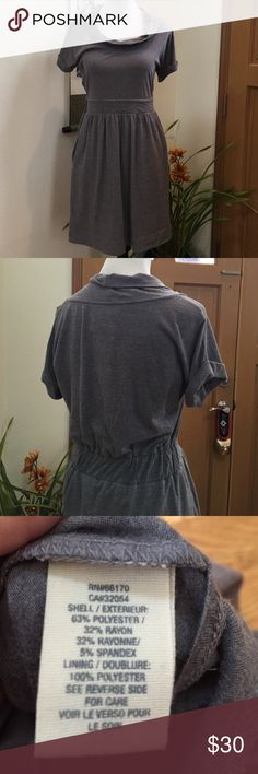 Anthropologie dress Small gray Anthropologie short sleeved dress with cowl neck and two front side pockets. Skirt is lined Anthropologie Dresses Midi