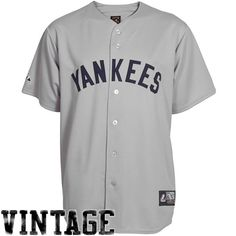 a1718030c Majestic New York Yankees Replica Cooperstown Throwback Jersey-Gray Yankees  Gear