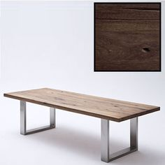Capello 180cm Dining Table In Dark Oak With Stainless Steel Legs