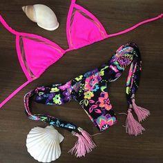 #NewYear #Twinkledeals - #TwinkleDeals Women's Chic Red Print Halter Bikini Suit - AdoreWe.com