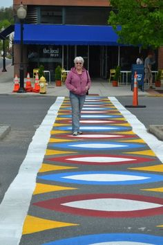 Colorful crosswalk in North Adams, Massachusetts Lanscape Design, Pedestrian Crossing, Urban Graffiti, Sidewalk Chalk Art, Chalk Drawings, Art Programs, Street Signs, Urban Planning, Art Store