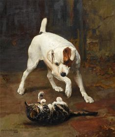 Terrier and Kitten Arthur John Elsley 1866 Private Collection cats in art