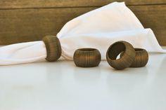 Thanksgiving Napkin Rings - Dark Brown Serviette Holders - Set of 4 - Metallic Home Decor - Bronze