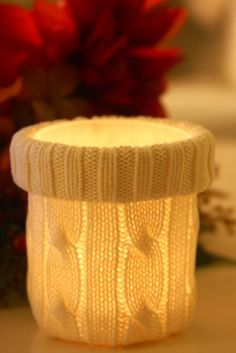 Candle Cozy- DIY Up-Cycled sweaters - so fun and festive for any time of year!