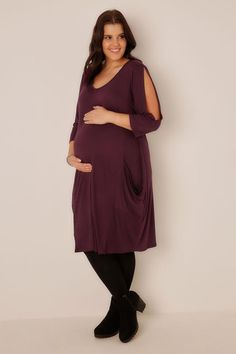 03ad4e64fbb Plus Size Maternity Possibilities · BUMP IT UP MATERNITY Wine Drape Pocket  Cold Shoulder Dress Wine Dress
