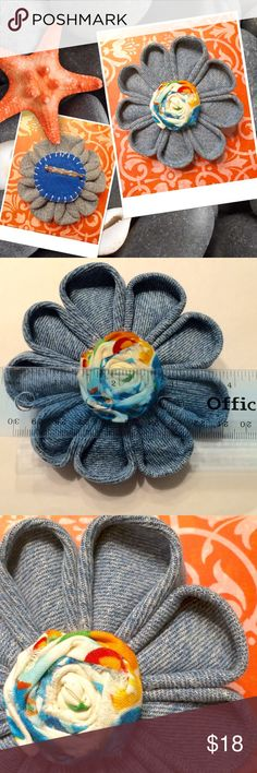 """Upcycled Kanzashi Flower Brooch Created from an old pair of hens, this brooch/ pin is beautiful.  Measures 4"""" wide. Wear on your jean jacket, hat or your favorite top.  ❤️ACCEPTING OFFERS ❤️ Jewelry Brooches"""