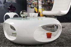 Owalny stolik Spin II biały