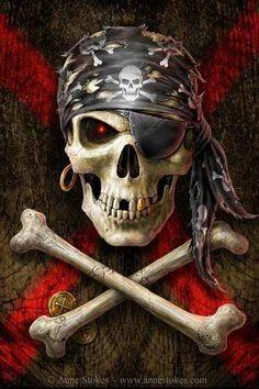 Skull art: Pirate flag by Anne Stokes Anne Stokes, Pirate Art, Pirate Skull, Pirate Life, Pirate Flags, Pirate Ships, Art Harley Davidson, Totenkopf Tattoos, Bild Tattoos