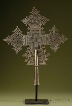 Africa | Large Abyssinian Coptic Metal Cross | ca. 19th century, Ethiopia
