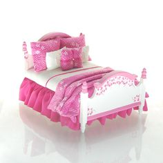 TROPICAL PUNCH Hot Fuchsia Pink & White Bold by MiniatureLane,