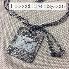 Original Owl Necklace, Antique Silver Owl Necklace, Hand Engraved Owl Pendant on Silver Chain, Fine Silver Pendant on Etsy, $160.00