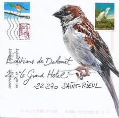 Mail Art by Yann Lesacher, Bretagne Watercolor Bird, Watercolor Animals, Watercolor Paintings, Pen And Paper, Paper Art, Flor Magnolia, Fun Mail, Decorated Envelopes, Envelope Art