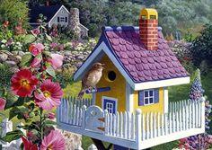 Solve Magnifique maison pour oiseaux jigsaw puzzle online with 176 pieces Bird Houses Painted, Bird Houses Diy, Fairy Houses, Homemade Bird Houses, Birdhouse Designs, Bird Boxes, Bird Pictures, Animal House, Bird Cage