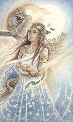 All Pictures of Athena   Animals Divine Tarot: Gallery: Major Arcana: Queen of Swords - Athena