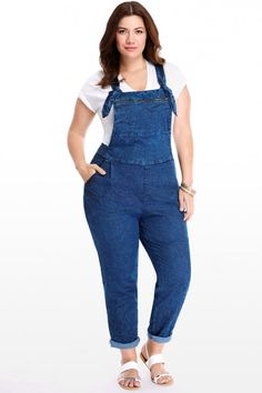 307d231f2a8 Plus Size Georgia Zip Pocket Denim Overalls